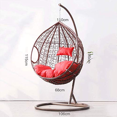 Rattan Hanging Swing Chair with Stand and Cushion: Brown