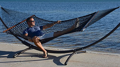 Caribbean Rope Hammock - 55 Inch - Soft-Spun Polyester (Black)