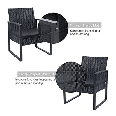 Rattan Chair Conversation Sets with Coffee Table for Yard and Bistro (Black)