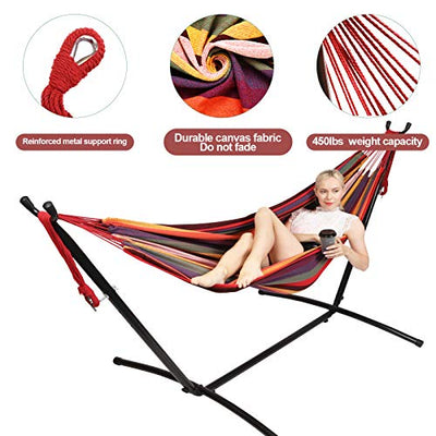 Kanchimi Hammock with Stand,Max Load 450lbs,Portable Double Hammock for para Patio,Indoor Outdoor Hammock with Stand 2 Person Heavy Duty,Premium Carrying Case Included(Rainbow)