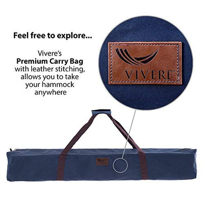 Vivere  Double Sunbrella Hammock with Space Saving Steel Stand: Sand