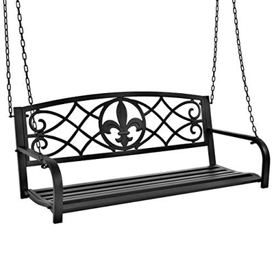 Best Choice Products Outdoor Metal Fleur-De-Lis Hanging Swing Bench w/Weather-Resistant Steel, Black