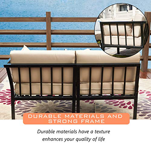 LOKATSE HOME 2 Piece Corner & Armless Sofa Outdoor Furniture Sectional Couch Set Patio Loveseat, 2Pcs, Khaki Cushions