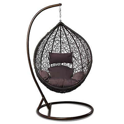 Island Gale Outdoor Wicker Hanging Egg Chair-Brown