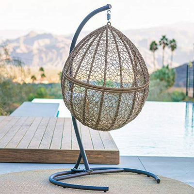 Natural Brown Resin Wicker Hanging Egg Chair with Stand and Beige Cushion