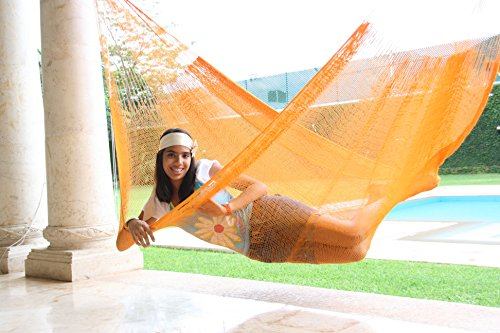 Family Size Cotton Hammock Handmade in Mexico Genuine Mayan Hammock Ideal for 3 people Gold