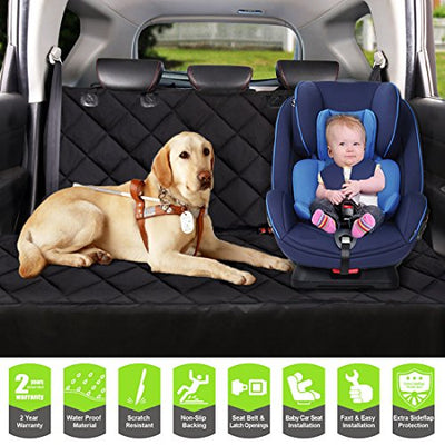 Dog Car Seat Covers-Cosmoplus Pet Seat Covers For Cars,Dog Car Hammock & Bench Convertible,Quilted,Padded,Waterproof,Scratch Proof,Nonslip,Universal Fit