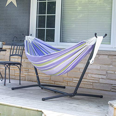 Vivere Double Cotton Hammock with Space Saving Steel Stand (450 lb Capacity)