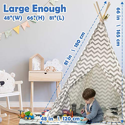 Tiny Land Teepee Tent for Kids with Padded Mat