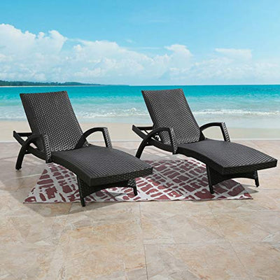 Outdoor Woven Padded 2-Pack Aluminum Patio Lounge Chair