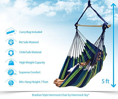 Hammock Sky Large Brazilian Hammock Chair: Blue & Green