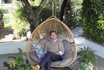 Wicker Double Hanging Egg Chair Loveseat: Natural