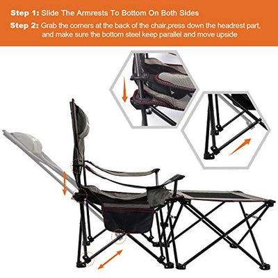 2 in 1 Folding Camping Chair Portable Lounge Chair with Detachable Table