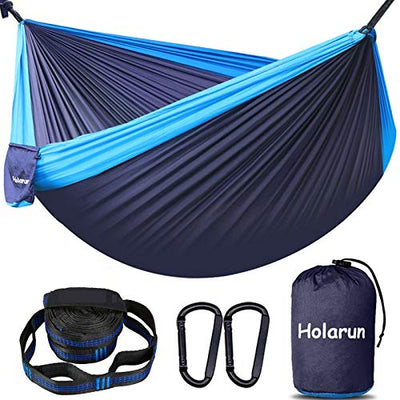 Holarun Hammock, Double Camping Hammock for 2 Adult Lightweight Parachute Hammock with Tree Straps (16+2 Loops)& Carabiners, Portable Nylon Hammock for Kid, Backpacking, Hiking, Yard Garden, Travel