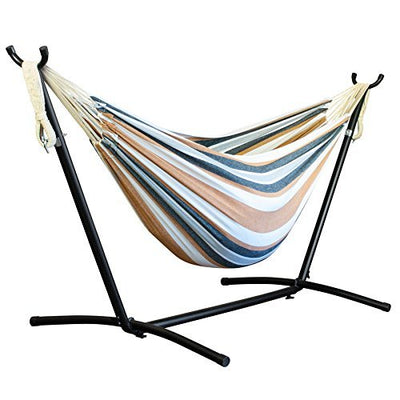 Driftsun Double Hammock with Steel Stand - Space Saving Two Person Lawn and Patio Portable Hammock with Tavel Case (Earth)
