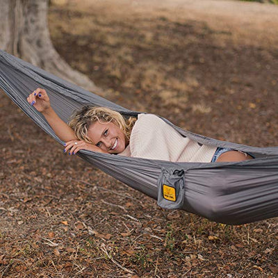 Feather Light Parachute Nylon Camping Hammock with Tree Straps: Grey