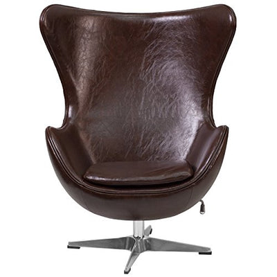 "Espresso Brown Leather Egg Chair | ""Vela"" Retro Lounge Chairs"