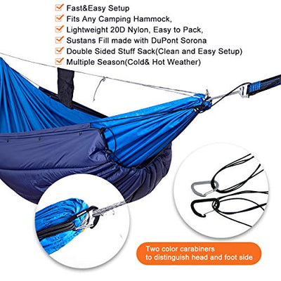 onewind Underquilt Double Hammock Camping Quilt 4Season Lightweight Packable Under Insulation Sleeping Pad Night Protector (35-50 Degrees Fahrenheit UDQ2113B)