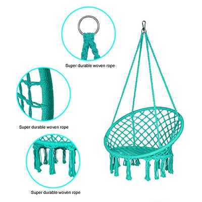 "LAZZO Round Hammock Chair with Hanging kit, Hanging Knitted Mesh Cotton Rope Macrame Swing, 260 Pounds Capacity, 23.6"" Seat Width,for Bedroom, Outdoors, Garden, Patio, Yard. Child, Girl, Adult (Blue)"
