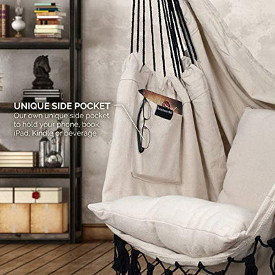 Hanging Rope Hammock Chair Swing Seat: Ivory & Black | Komorebi