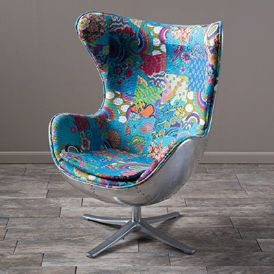 Lillian Arne Jacobsen Inspired Multi-Colored Patch Work Fabric Swivel Egg Chair