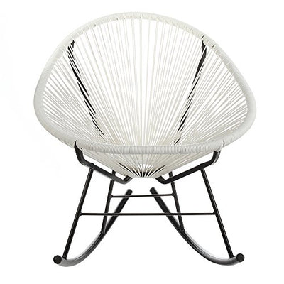 Design Tree Home Acapulco Indoor/Outdoor Lounge Chair Weave On Black Frame, White