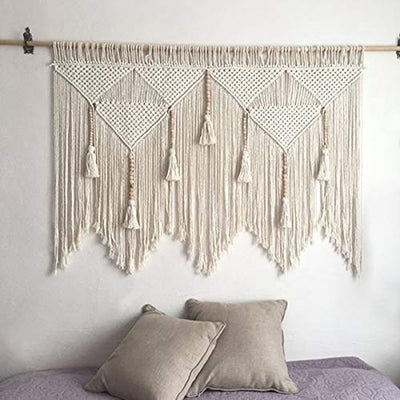 Macrame Wall Hanging Boho Chic Woven Tapestry-Cream