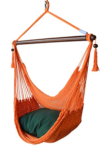 Caribbean Hammock Chair with Footrest: Orange