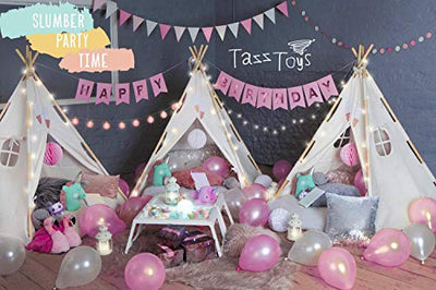 TazzToys Kids Teepee Tent for Kids with Ferry Lights + Feathers + Waterproof Base