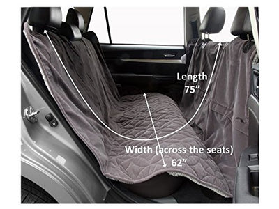 "Floppy Ears Design Waterproof Microfiber Zippered Pet Hammock Seat Cover, Grey, Large 62"" W (across the seats) x 75"""