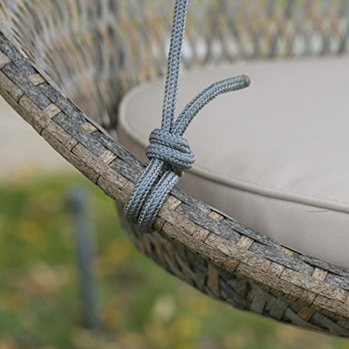 Resin Wicker Single Swing Chair with Seat Pad Rope Swinging