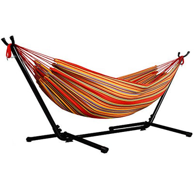 Afranker Double Hammock with Space-Saving Steel Stand Techno