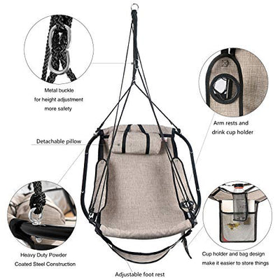 Hammock Hanging Chair with Pillow & Drink Holder