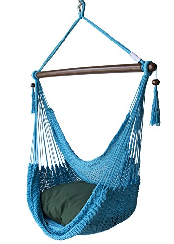 Caribbean Hammocks Chair with Footrest: Light Blue