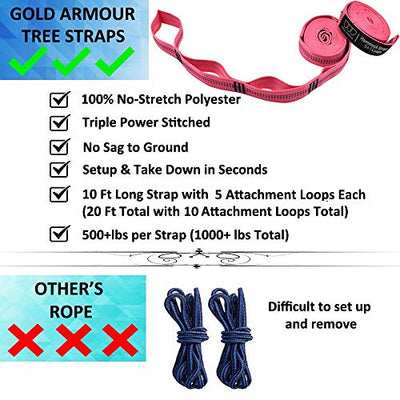 Gold Armour Camping Hammock - USA Brand Single Parachute Hammock (2 Tree Straps 10 Loops/20 ft Included) Lightweight Nylon Portable Adult Kids Best Accessories Gear (Fuchsia/Pink)