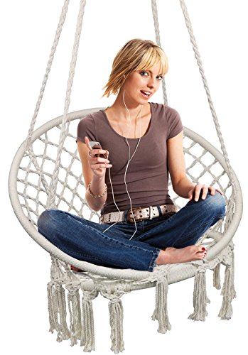 Hammock Chair Macrame Swing Hanging Chair For Reading Leisure 330