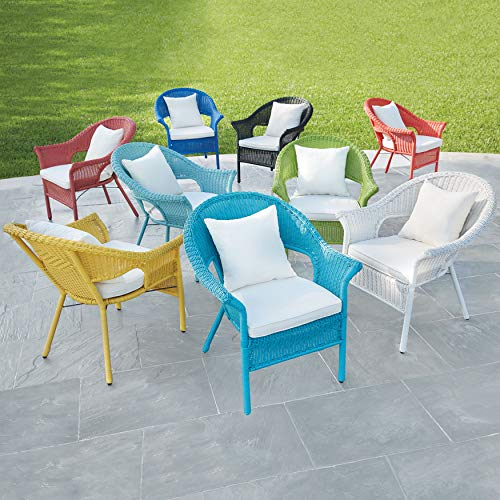 BrylaneHome Roma All-Weather Wicker Stacking Chair w/Free seat&Back Cushion