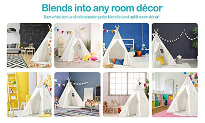 Kids Teepee Tent Children Play Tent 5 ft Raw White Cotton Canvas Four Wooden Poles Water Resistant Mat Banner Carry Case Indoor Outdoor Playhouse for Girls and Boys Childrens Room Decor