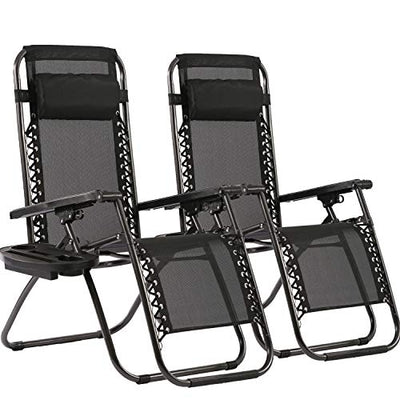Zero Gravity Chairs Patio Set of 2 with Pillow and Cup Holder