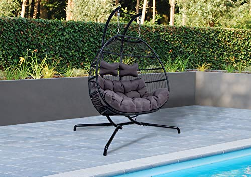 LeisureMod Modern Wicker 2 Person Patio Chair: Charcoal