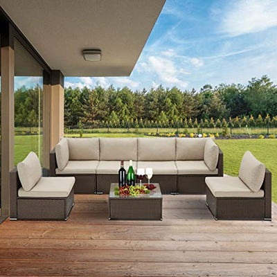 U-MAX 7 Piece Outdoor Patio Furniture Set, PE Rattan Wicker Sofa Set, Outdoor Sectional Furniture Chair Set with Cushions and Tea Table, Brown