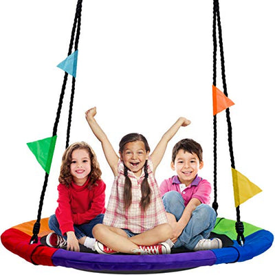 Sorbus Saucer Tree Swing for Kids Accessories Included: Multi-Color Rainbow