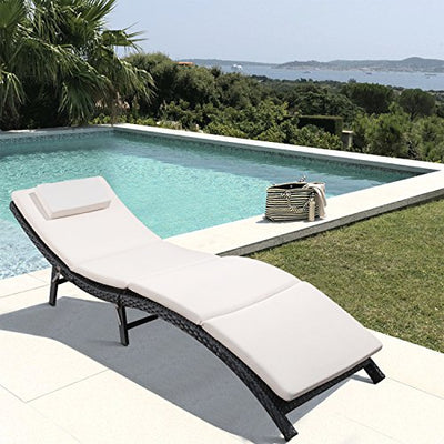 3 Pieces Patio Chaise Lounge Chair with Cushions
