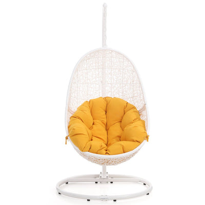 Zuri Furniture Modern Reef White Basket Swing Chair Yellow Cushion