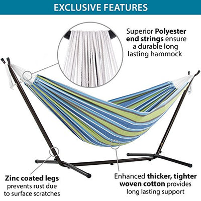 Vivere Double Hammock with Space Saving Steel Stand, Oasis