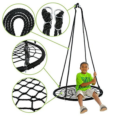Spider Web Tree Swing with Detachable Nylon Rope Swivel