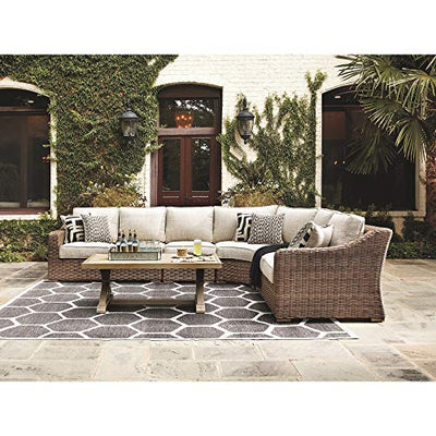 Signature Design by Ashley - Beachcroft Outdoor Loveseat Set - Left & Right Arm Facing Loveseats with Cushions - Beige
