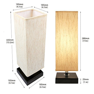 Bedside Table Lamp With Square Flaxen Fabric Shade
