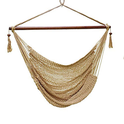 Blissun Rope Hanging Hammock Chair, Swing Chair: Tan