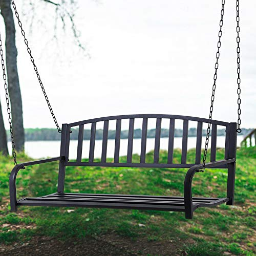 Weather-resistant & Solid Steel Construction Patio Porch Hanging Swing